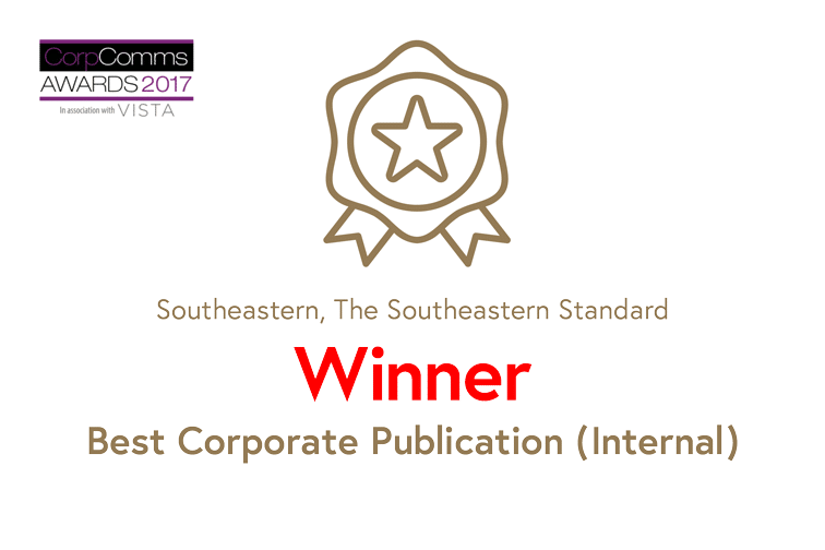 Corp Comms Awards 2017 certificate, Southeastern Standard, Winner Best Corporate Publication (Internal)