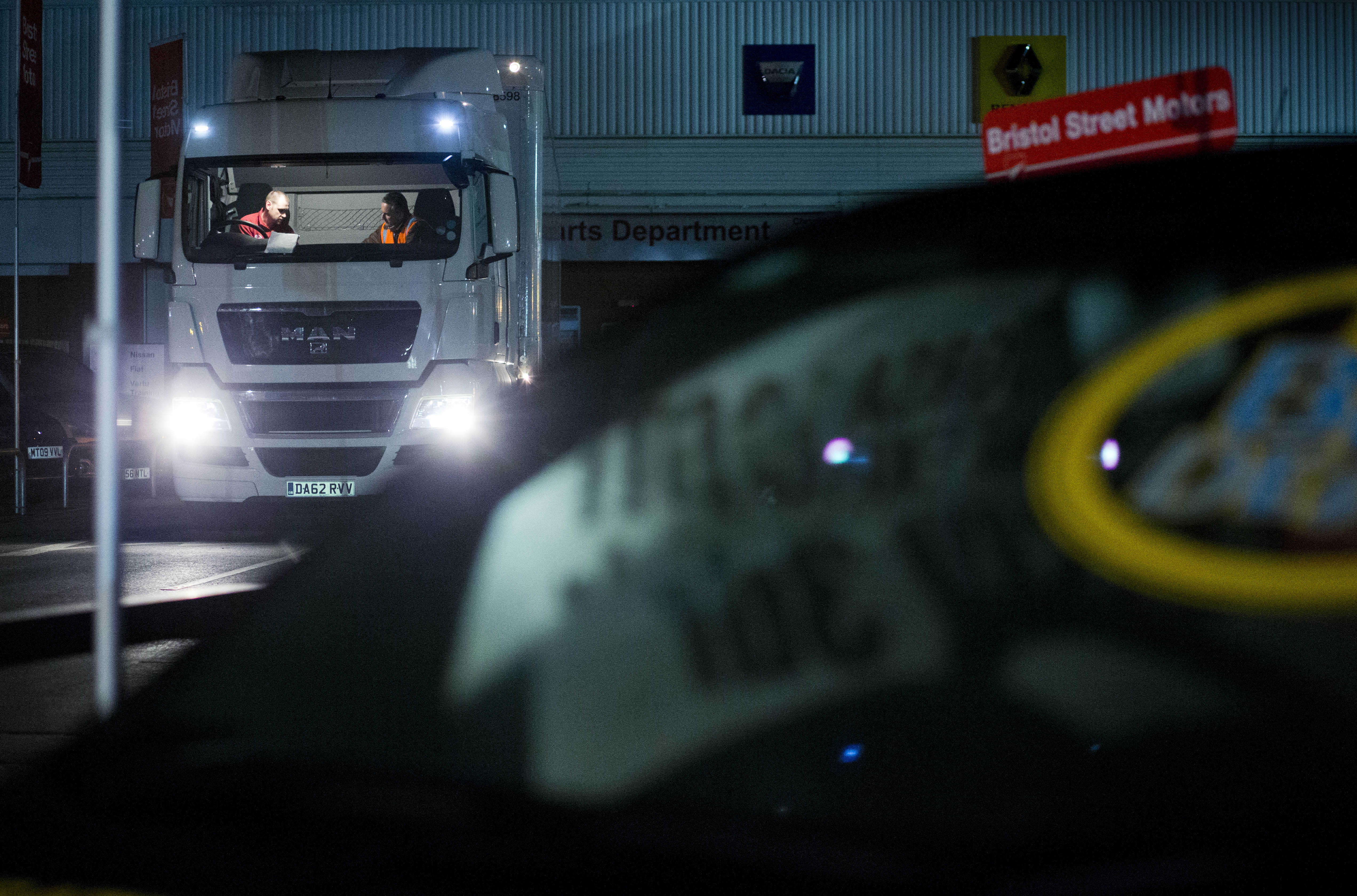 CEVA Logistics lorry preparing to go out on road at night