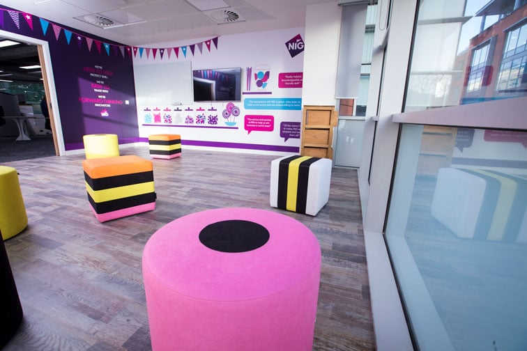 Room decorated with Liquorice Allsorts-style furniture