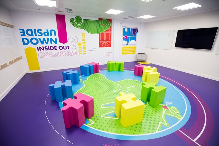 Ideas Exchange room with coloured jigsaw-style furniture