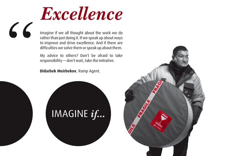 Imagine if quote on Excellence and luggage handler carrying a fragile parcel