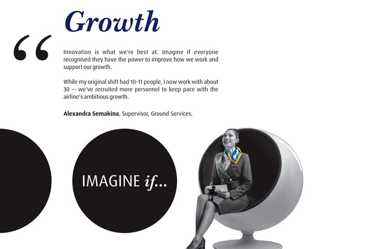Imagine if quote on Growth and a smiling cabin crew member perched on a swivel chair