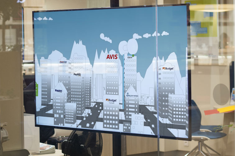 Cityscape animation on office TV