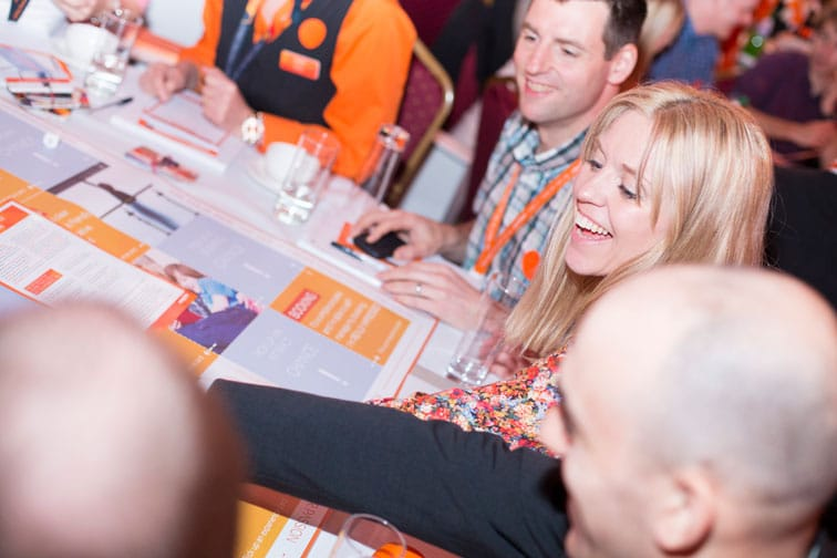Smiling easyJet colleagues playing the customer experience board game