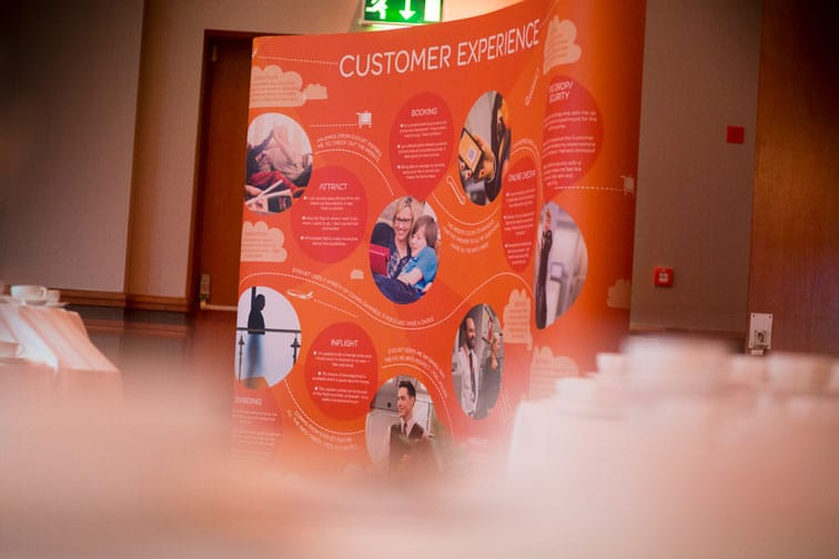 Display stand illustrating easyJet's customer experience strategy
